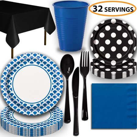 Disposable Tableware, 32 Sets - Royal Blue and Midnight Black - Scallop Dinner Plates, Dotted Dessert Plates, Cups, Lunch Napkins, Cutlery, and Tablecloths:  Party Supplies Set](Halloween Cut And Paste Projects)