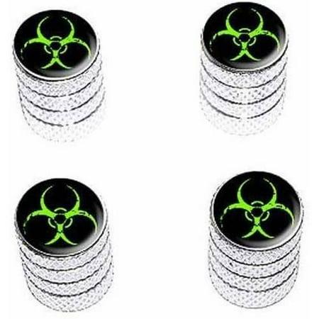 - Zombie Outbreak Response Vehicle Green Biohazard Tire Rim Wheel Aluminum Valve Stem Caps, Multiple Colors