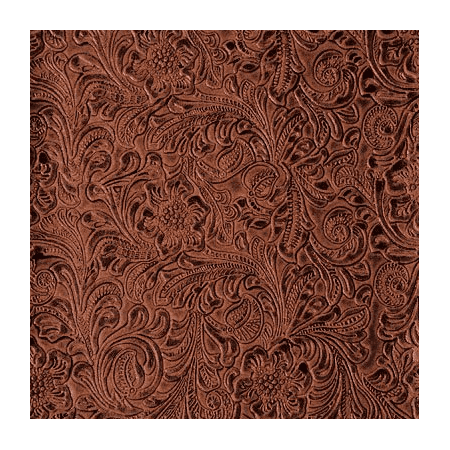 54 Wide Faux Leather Fabric Tooled Floral Copper By The