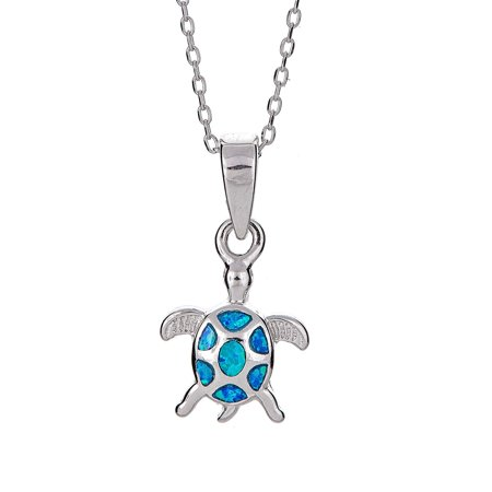Sterling Silver Sea Turtle Pendant Necklace with Turquoise-Tone Blue Opal Bezel Set Charm, with Jewelry Box, 16