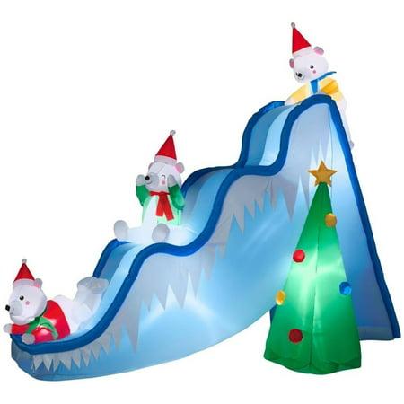 Gemmy 16145 Airblown Polar Bears on Slide Christmas Inflatable - Inflatable Christmas Tree