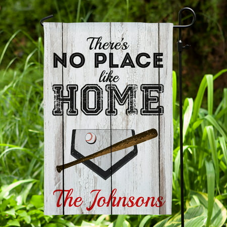 There's No Place Like Home Personalized Baseball Garden Flag - Personalized Garden Flags
