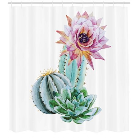Cactus Shower Curtain, Cactus Spikes Flower in Hot Mexican Desert Sand Botanical Natural Image, Fabric Bathroom Set with Hooks, Pink Green and Blue, by Ambesonne