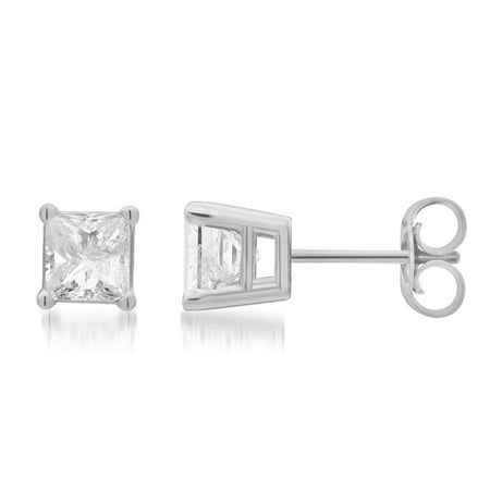 1 1/2 Carat T.W. Princess Diamond 14K White Gold Stud Earrings. (J/I2-I3)
