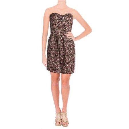 Be Bop Womens Juniors Floral Print Strapless Casual Dress Black M