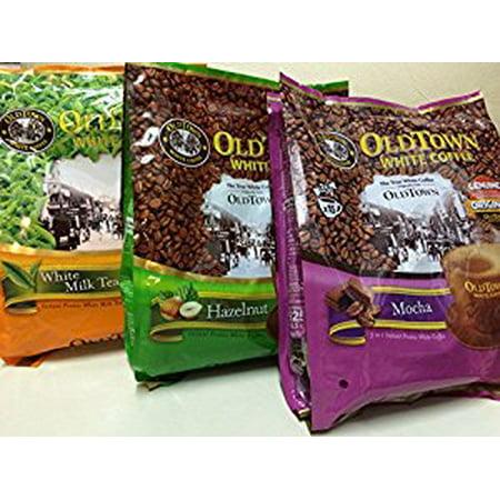 Malaysia OLD Town (3 in 1) - Taste Premix Mocha Coffee  Hazelnut and Milk Tea- Don t Need Creamer & Sugar-make Your Life Easier-(35g - 40g)/sticks-(3 Flavors Mix) ()