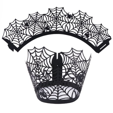 Cupcake Wrappers, 12CPS of Halloween Party Spiderweb Laser Cut Paper Cupcake Wrappers Wraps Liners Black - Halloween Cut Out Pages