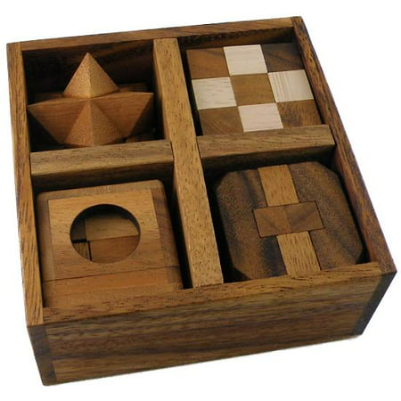 5 Wooden Puzzles Gift Set In A Wooden