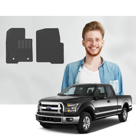 Road Comforts Custom Fit Ford F150 2010-2014 Regular, SuperCab, SuperCrew Cab Floor Mats - Digitally Laser Measured & Made with Premium TPE Heavy Duty Thick Material - Front Row Only (2pcs) (Black) 2001 Ford F150 Supercrew