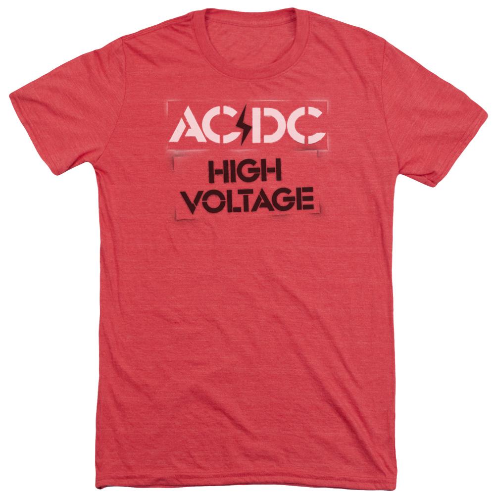 ACDC High Voltage Stencil Mens Tri-Blend Short Sleeve Shirt