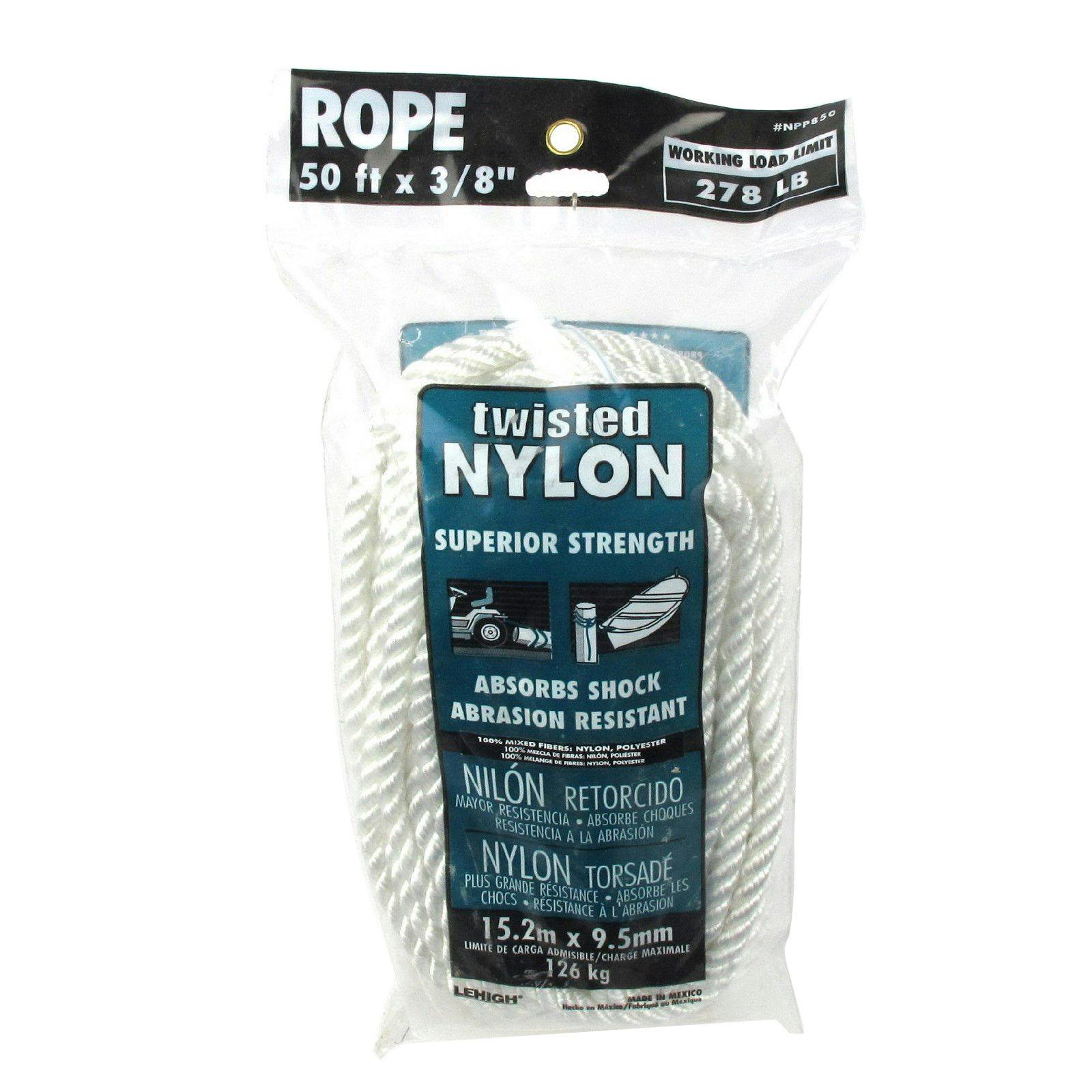"Lehigh Group NPP850X Twist Nylon Rope, 3/8"" x 50'"