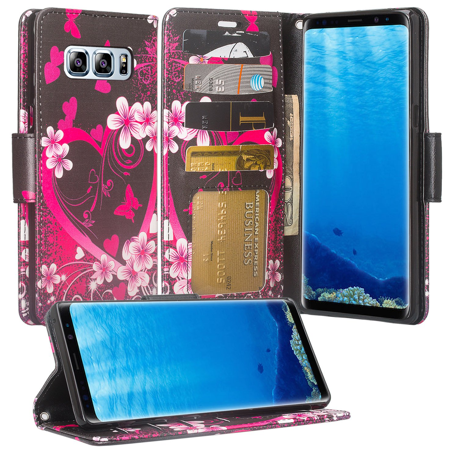 Samsung Galaxy Note 8 Case, Kickstand Pu Leather Wrist Strap Wallet Cover with Slots - Heart Butterflies