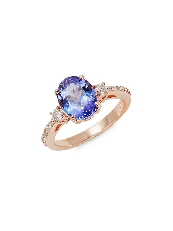 14K Rose Gold, Tanzanite & Diamond Ring