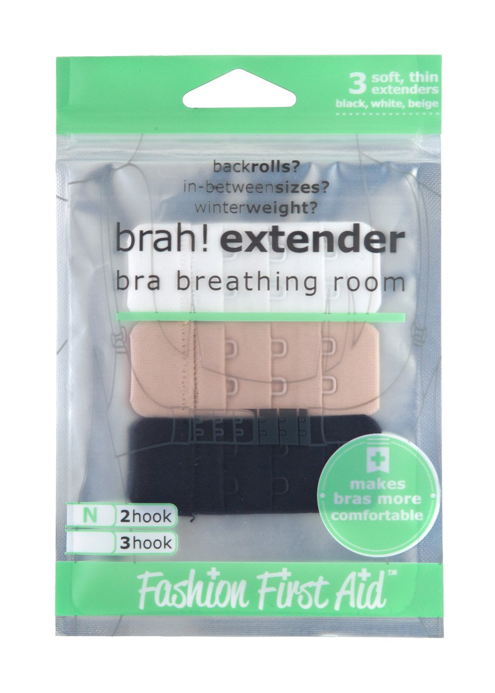 18 Pcs Womens Bra Extender 2 Hooks// 3 Hooks Elastic Stretchy Bra Extension Strap Bra Lingerie Extenders White//Black//Beige