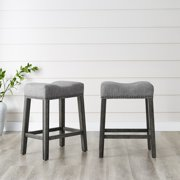 """Roundhill CoCo Upholstered Backless Saddle Seat Counter Stools 24"""" height Set of 2, Gray"""
