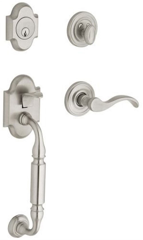 Baldwin 85305.150.LFD Canterbury Sectional Trim Left Hand Dummy Handleset with Wave Lever, Satin Nickel