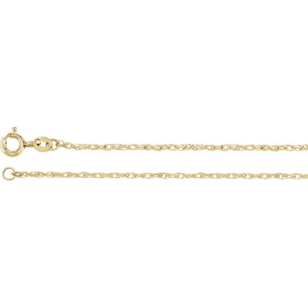 14k Gold Fill Necklace - 14k Yellow Gold Filled 1.25mm Necklace Rope Chain With Spring Ring - Length: 18 to 24
