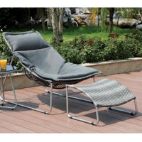 Furniture of America  Haven Contemporary 2-piece Outdoor Fabric Grey Chair and Ottoman Set