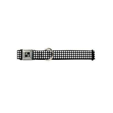 Mini White Polka Dots on Black Fun Animal Seatbelt Pet Collar