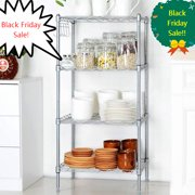 4 Tier 600lbs Capacity Rack Wire Shelving With Side Hooks For