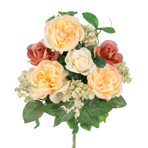 Admired by Nature 14 Stems Artificial Blooming Queen Rose and Hydrange Mix Flowers Bush