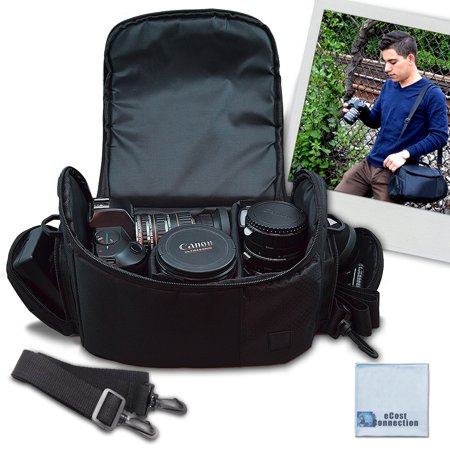 Large Digital Camera / Video Padded Carrying Bag / Case for Nikon, Sony, Pentax, Olympus Panasonic, Samsung, and Canon DSLR Cameras + eCostConnection Microfiber - Canon Carrying Bag