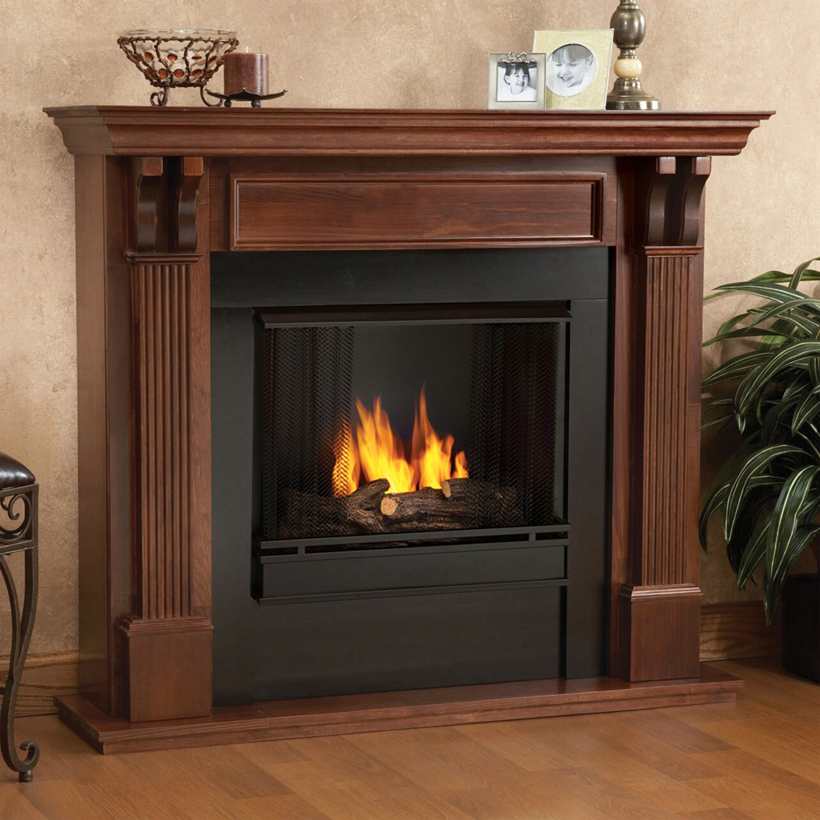 Real Flame Ashley Indoor Gel Fireplace Mahogany Walmartcom