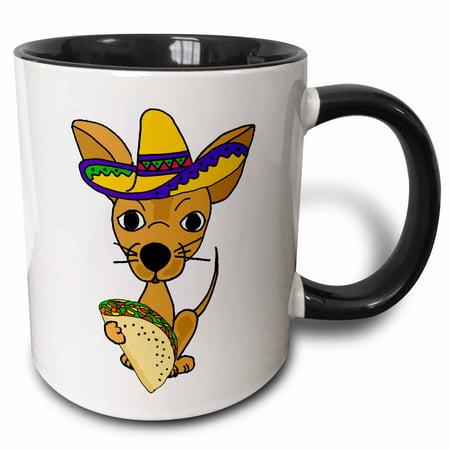 3dRose Cute Funny Chihuahua Dog in Sombrero eating Taco Cartoon - Two Tone Black Mug, 11-ounce](Dog Sombrero)