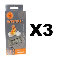 WetFire Tinder All-Weather Fire (3-Pack of 12), Extinguishes instantly By Ultimate Survival Technologies