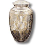 Star Legacy's Classic Silver/Gold Brass Cremation Urn for Human Ashes with Velvet Case, Large/Adult