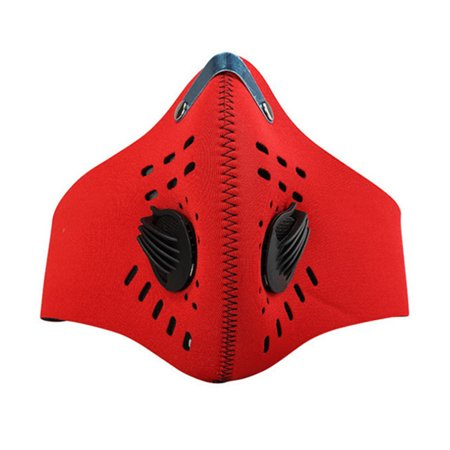 Activated Carbon Dustproof Mask Extra Filter Cotton Sheet and Valves for  Exhaust Gas for Running Cycling Outdoor Activities (Red)