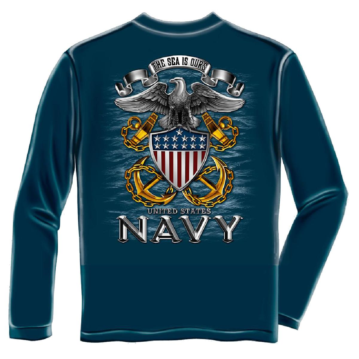 United States Navy Anchor Long Sleeve T-Shirt by , Navy Blue