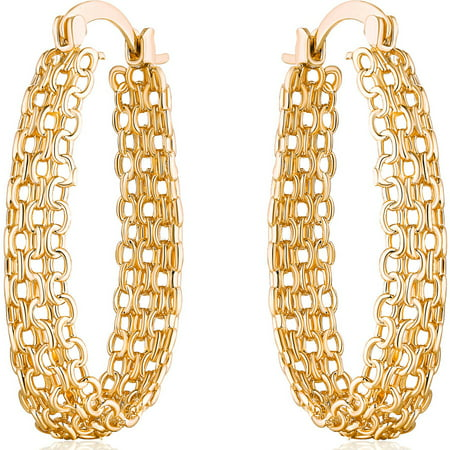 18kt Gold-Plated Cable Linked Hoop Earrings