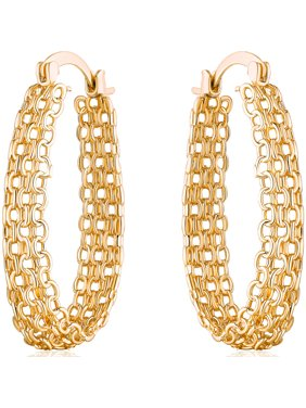 Elegant Gold-Plated Cable Link Hoop Earrings with Clip-Back Closures