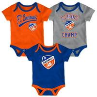 FC Cincinnati Newborn & Infant Champ Three-Piece Bodysuit Set - Royal/Orange/Heathered Gray