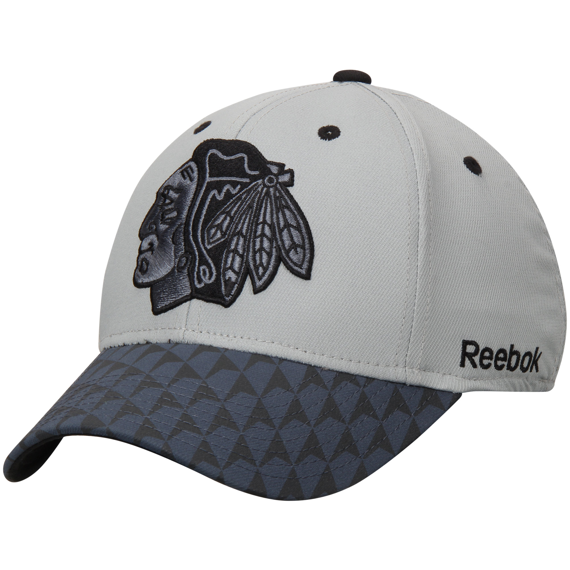 Chicago Blackhawks Reebok Crosscheck 2-Tone Structured Flex Hat - Gray