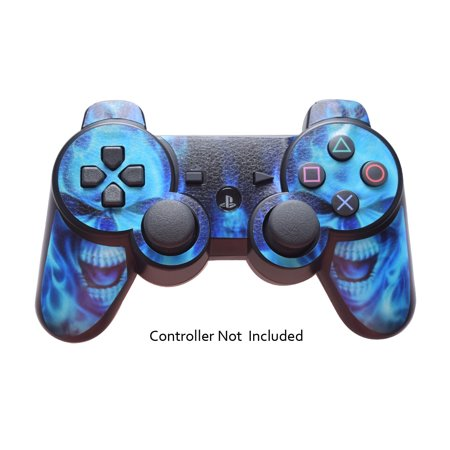 Skin Stickers for Playstation 3 Controller - Vinyl Leather Texture Sticker for DualShock 3 Wireless Game Sixaxis Controllers - Protectors Controller Decal - Blue daemon (Playstation 3 Wireless Dual Shock)