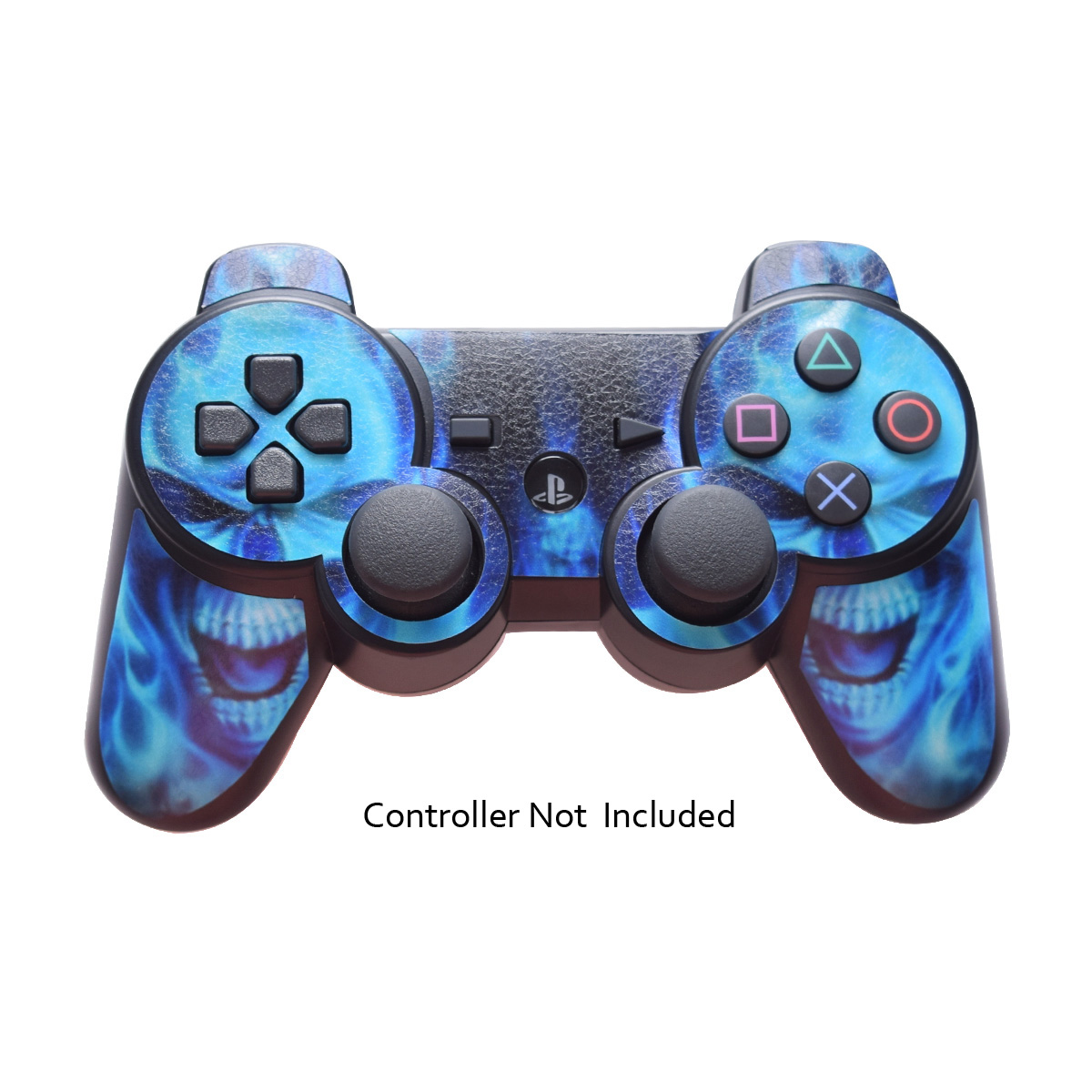 Skin Stickers for Playstation 3 Controller - Vinyl Leather Texture Sticker for DualShock 3 Wireless Game Sixaxis Controllers - Protectors Controller Decal - Blue daemon