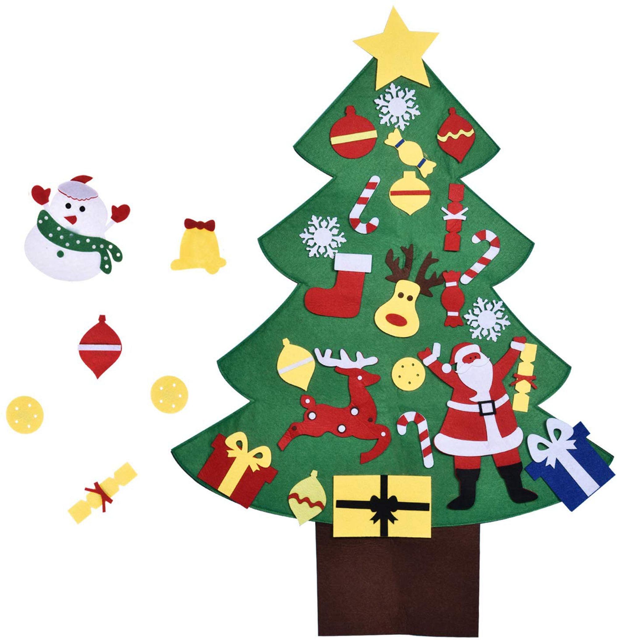 3ft Diy Christmas Tree For Kids With 28pcs Felt Ornaments Classroom Door Wall Decorations Diy Toys Party Favor F 275 Walmart Com Walmart Com