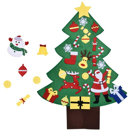 Easy Diy Christmas Ornaments (3FT DIY Christmas Tree for Kids with 28PCs Felt Ornaments, Classroom Door & Wall Decorations, DIY Toys, Party Favor)