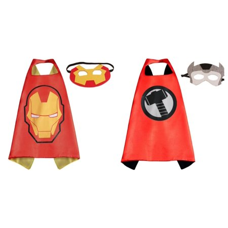 Ironman & Thor Costumes - 2 Capes, 2 Masks with Gift Box by Superheroes