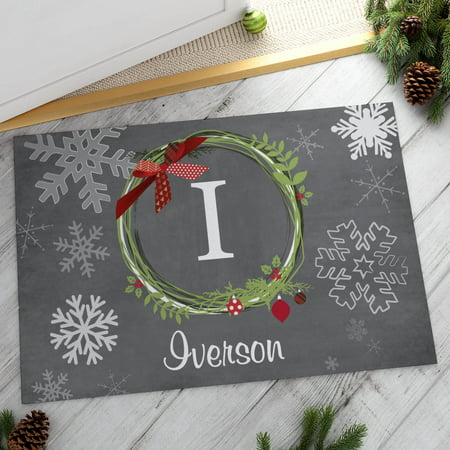 Christmas Wreath Personalized Doormat (Personalized Door Wreath)