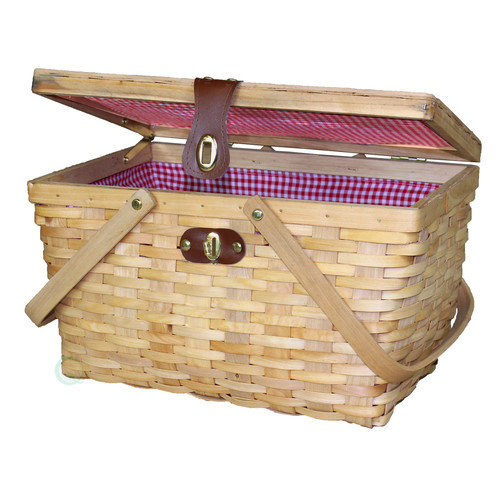 Quickway Imports Gingham Lined Wood Picnic Basket