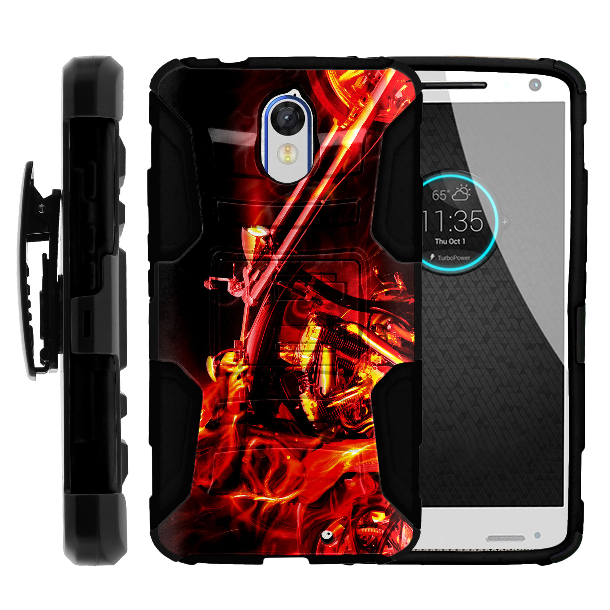 Motorola Droid Turbo 2 XT1585 Miniturtle® Clip Armor Dual Layer Case Rugged Exterior with Built in Kickstand + Holster - Motorcycle in Flames