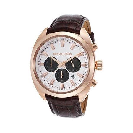 Michael Kors Mens Dean Chrono Genuine Leather Watch - Dark Brown
