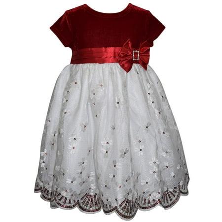 Blueberi Boulevard Velvet Beaded Border Hem Holiday Dress (Little Girls) - Frozen Dress For Little Girls