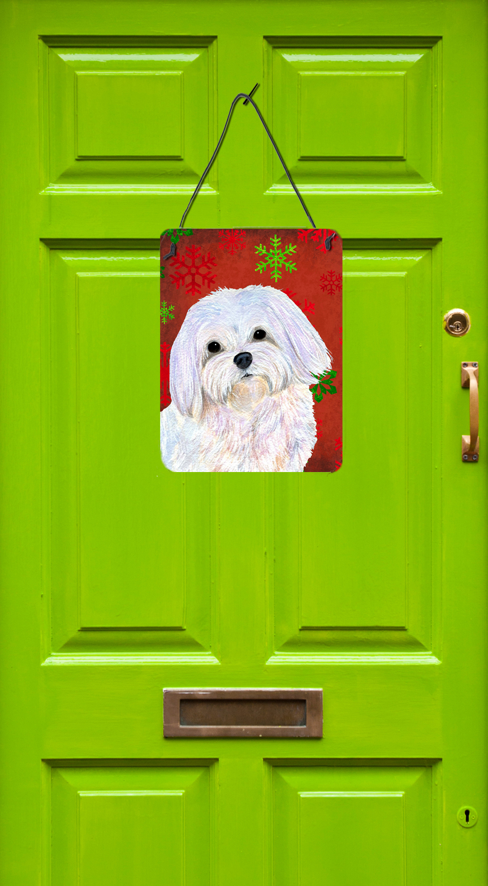 Carolines Treasures SS4689DS1216 Maltese Red and Green Snowflakes Holiday Christmas Wall or Door Hanging Prints 16 x 12 Multicolor