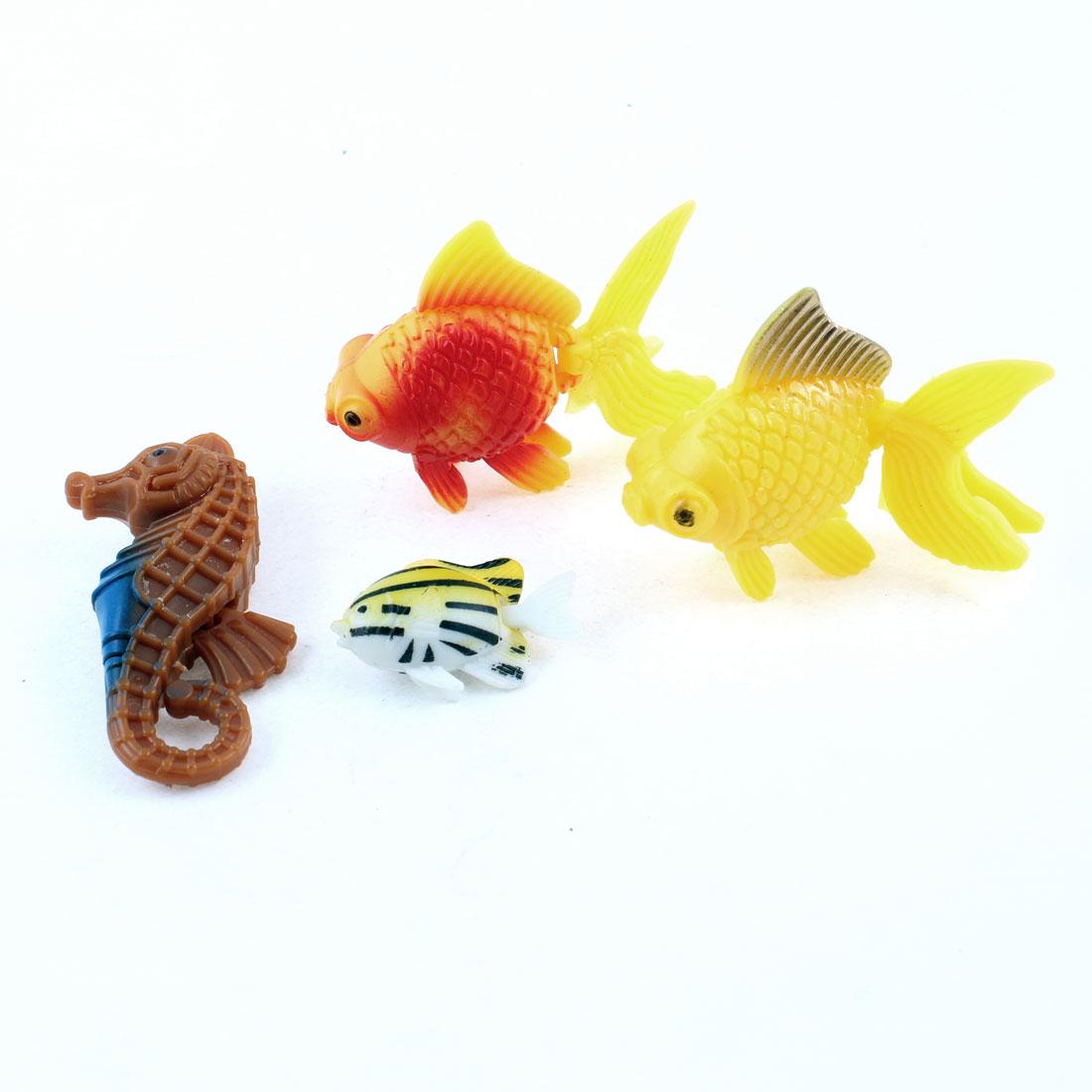 Unique Bargains Red Yellow Brown Plastic Imitated Aquarium Fish Tank Fishes 4 Pcs