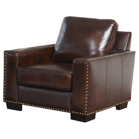 Abbyson Beverly Hand Rubbed Leather Arm Chair - Brown
