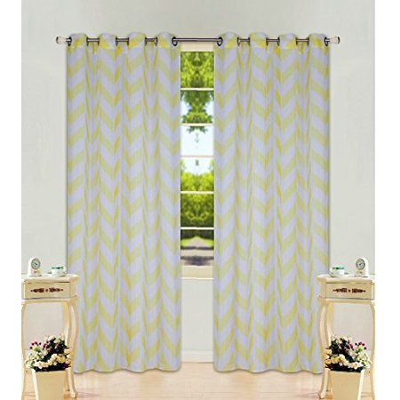 1 Panel Chevron Yellow  Two-Tone Pattern Design Voile Sheer Window Curtain 8 Silver Grommets 55
